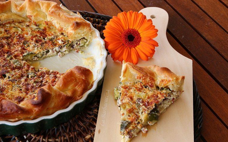 Torta salata zucchine speck e caprino