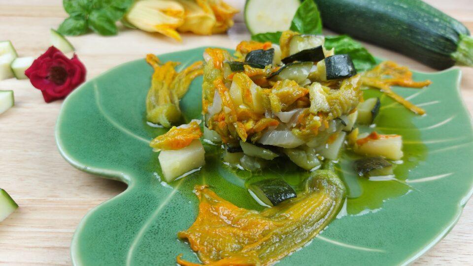 ciambotta patate zucchine e fiori di zucca
