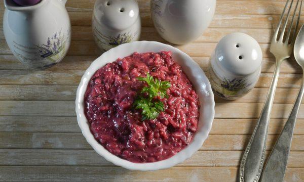 Risotto con barbabietola e gorgonzola al mascarpone
