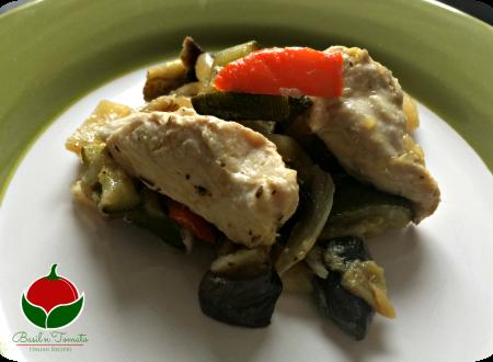 Petto di pollo al forno con verdure