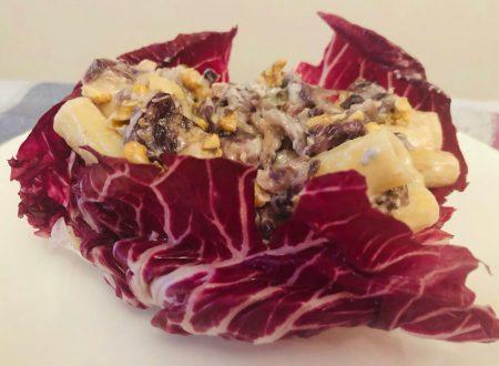 Tortiglioni con crema di gorgonzola, radicchio e noci
