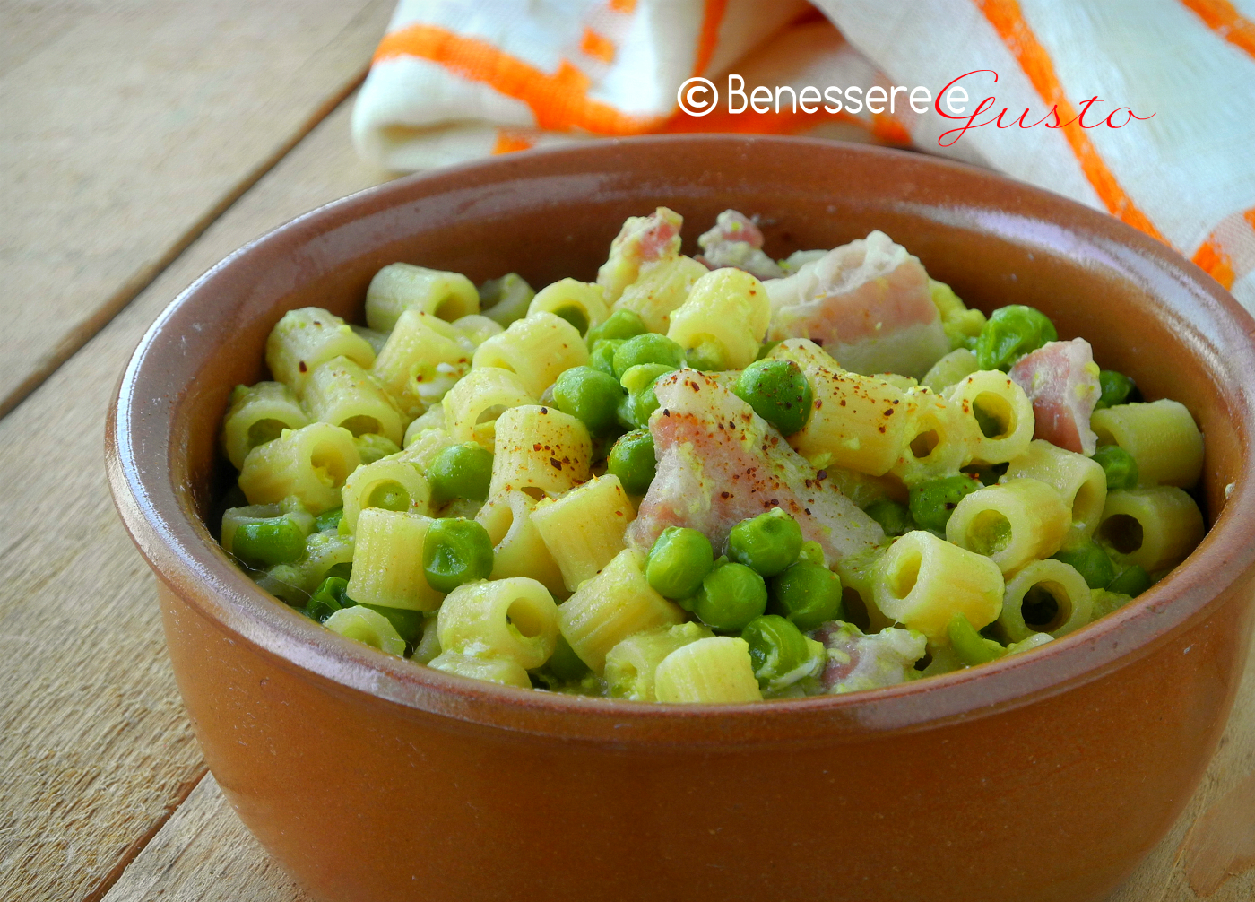 Pasta Piselli Pancetta e Uova
