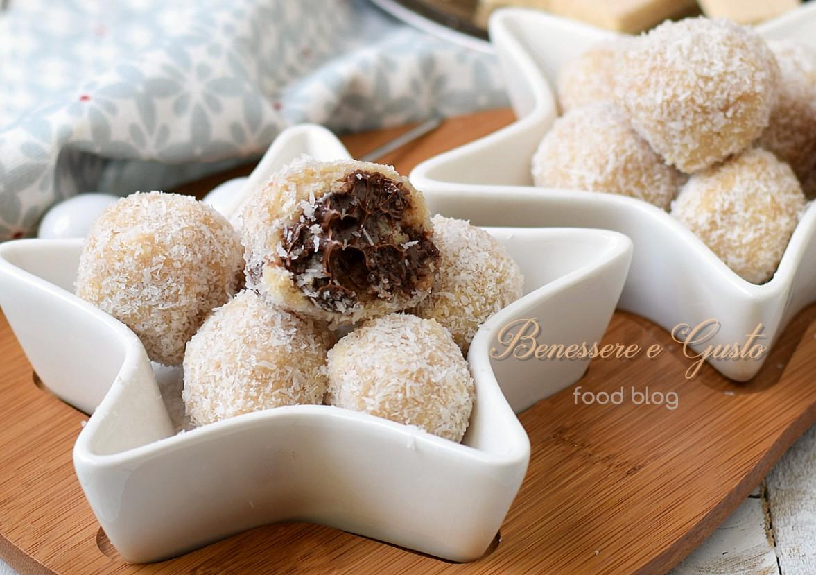 Tartufini cocco e nutella ricetta senza cottura