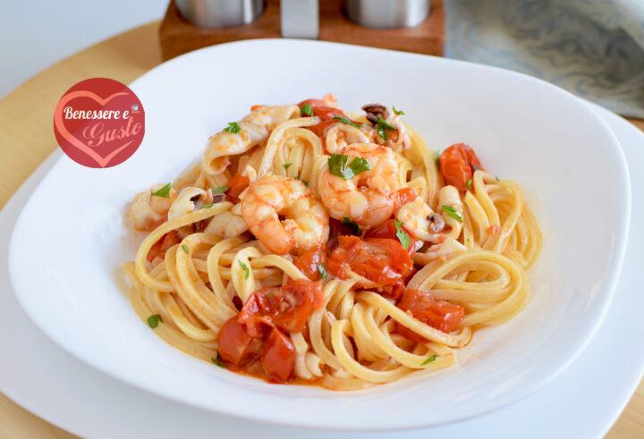 spaghetti con pomodorini e gamberi