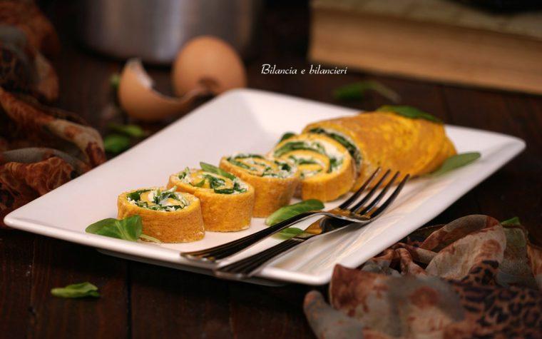 Omelette rolls con tofu spalmabile e foglie di songino