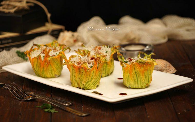 Timballini ai fiori di zucca con pesce spada e riso