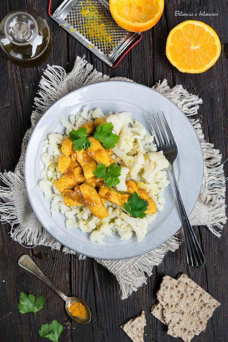 Cavolfiore con tagliata di pollo marinata nel succo di arancia