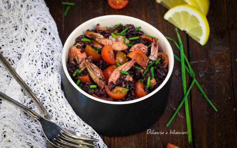 Insalata di riso nerone e mazzancolle marinate