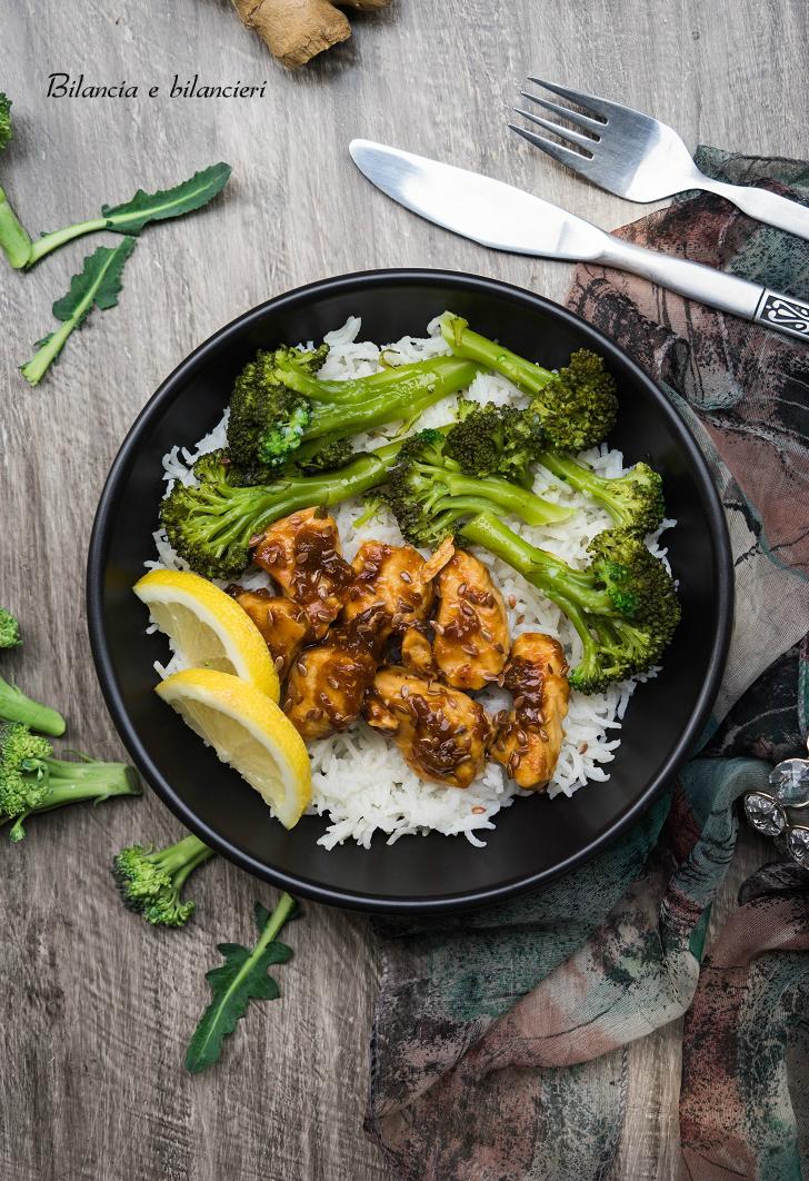 Riso con pollo in salsa agrodolce e broccoli siciliani