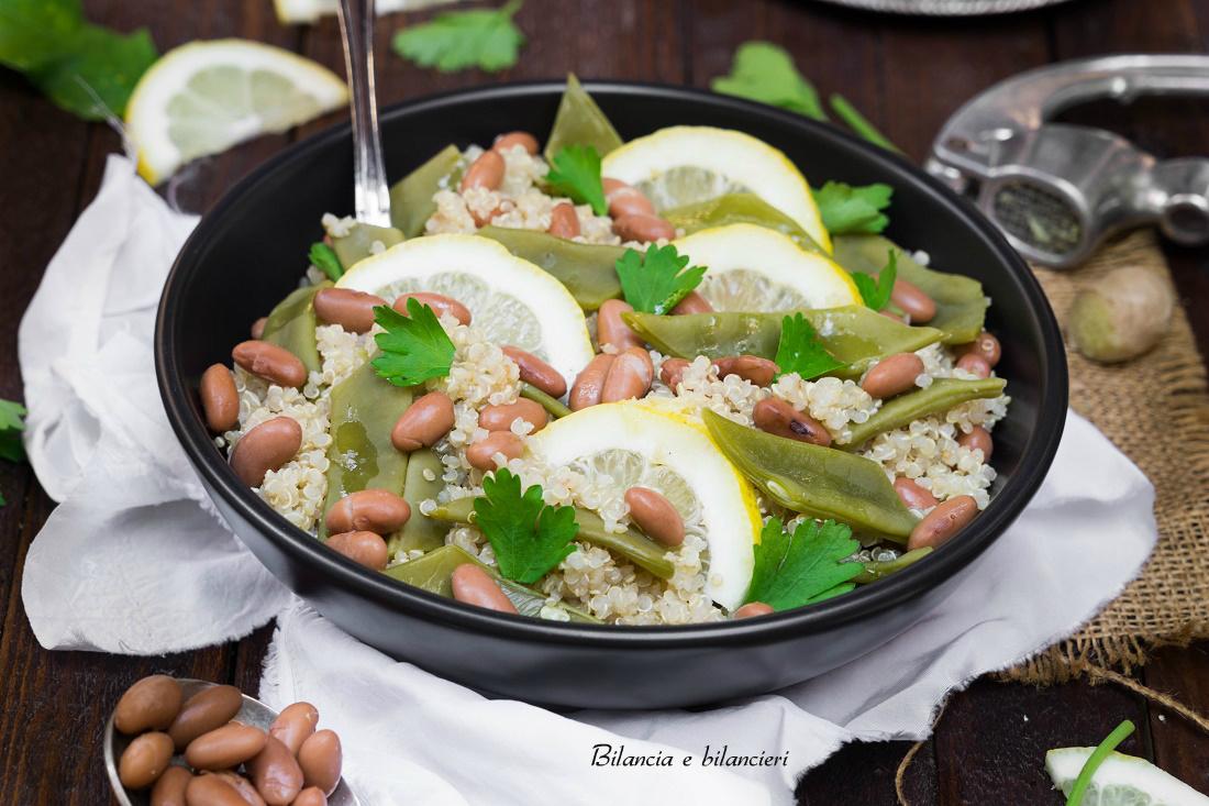 quinoa bianca con fagioli borlotti e taccole al limone
