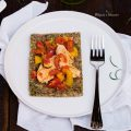 Pizza di zucchine e pollo con i peperoni alla romana
