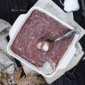 Vegamisù alla polpa di frutta con crema di sesamo al cacao