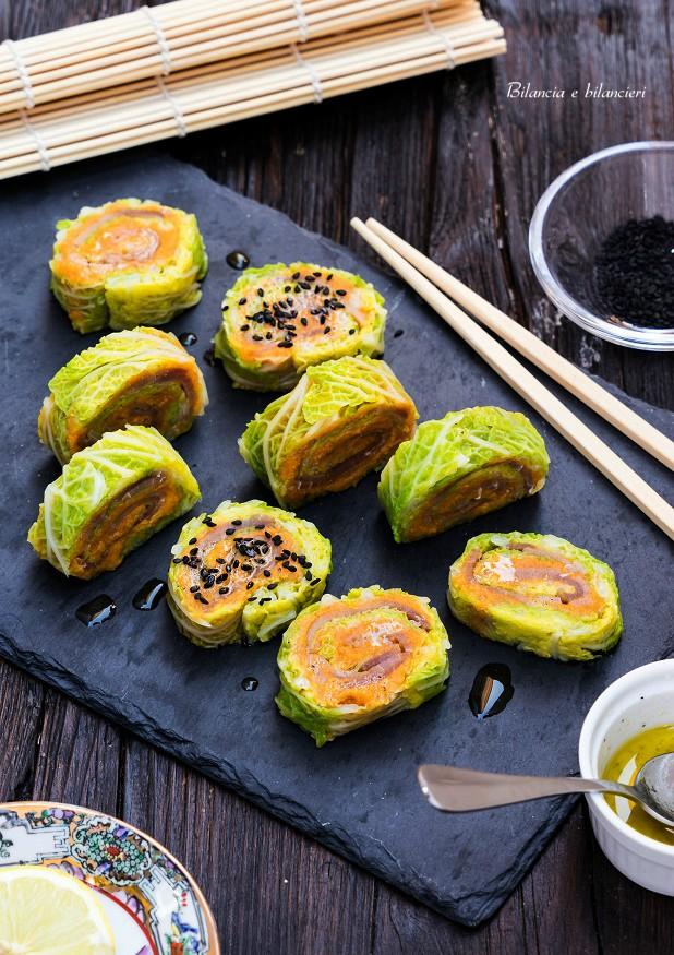 Maki sushi con verza patate dolci e tonno affumicato