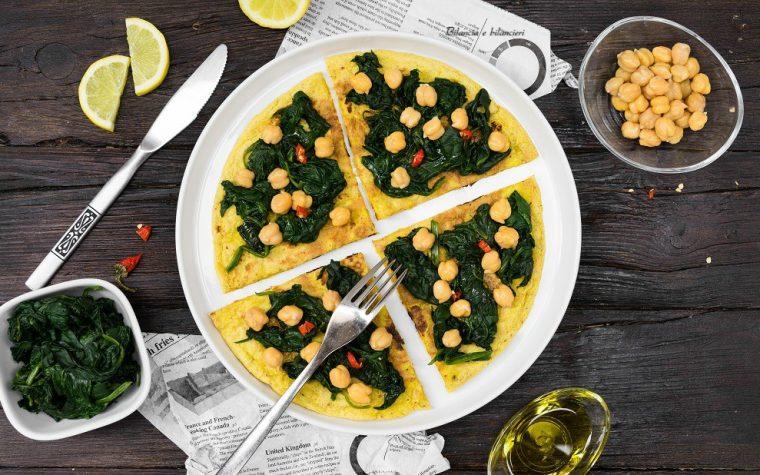 Piadina di riso e ceci con spinaci al limone