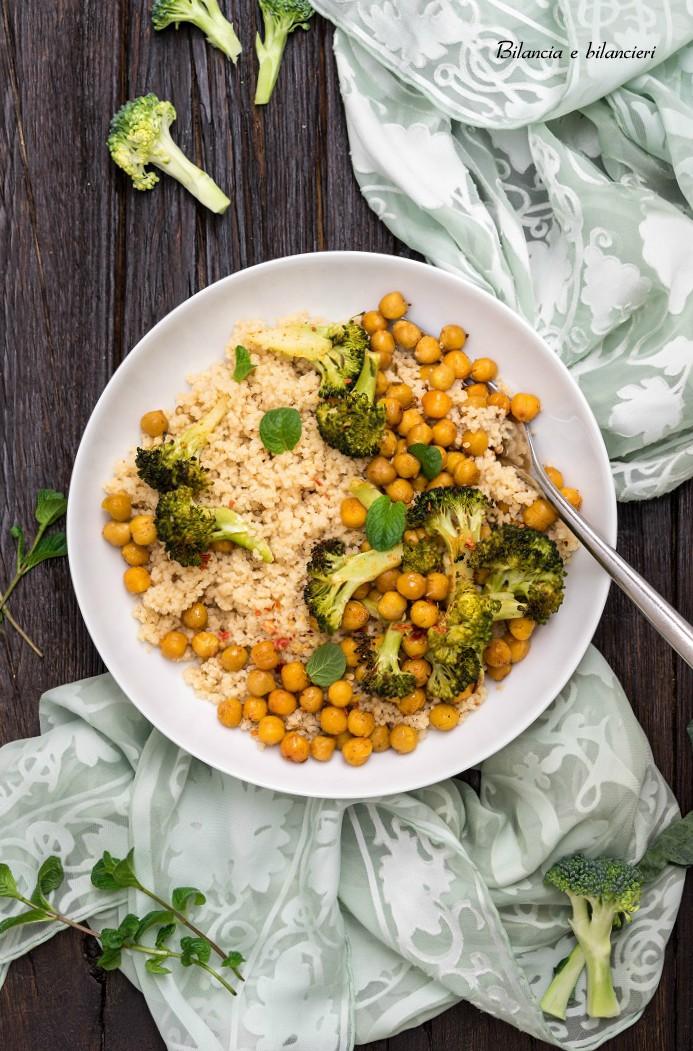 Cous Cous Integrale con Broccoli Siciliani e Ceci Speziati