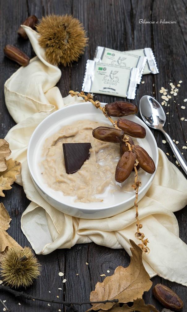 Porridge di avena con datteri farina di castagne e cioccolato