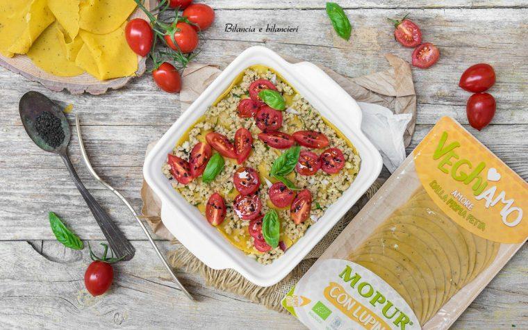 Lasagnette di Veghiamo Mopur al ragù di seitan e pomodorini