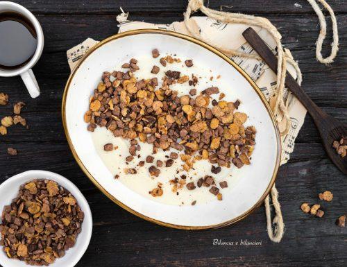 Overnight di semolino con muesli proteico al cioccolato
