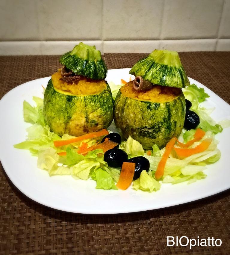 Zucchine ripiene di riso zafferano e alici