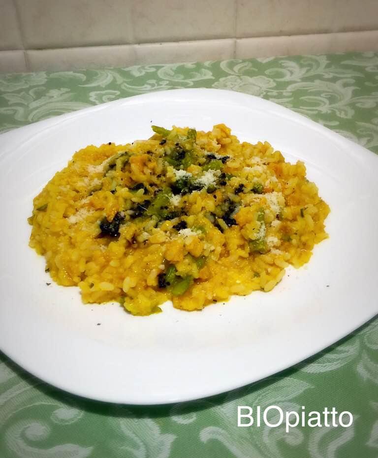 Risotto con crema di zucca asparagi e tartufo