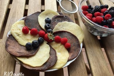 Pancakes black and white con latte di soia
