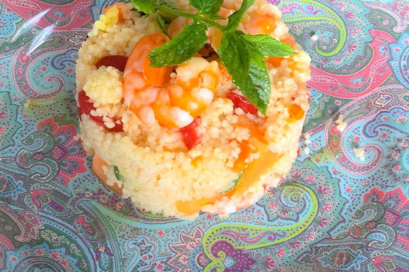 Cous Cous estivo con gamberi rossi, pomodorini, melone e menta . Freschissimo!!
