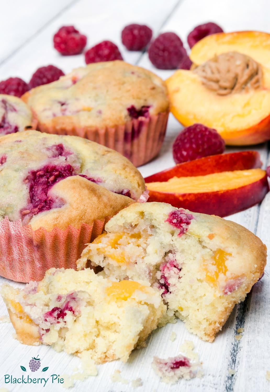 muffin alle pesche e lamponi