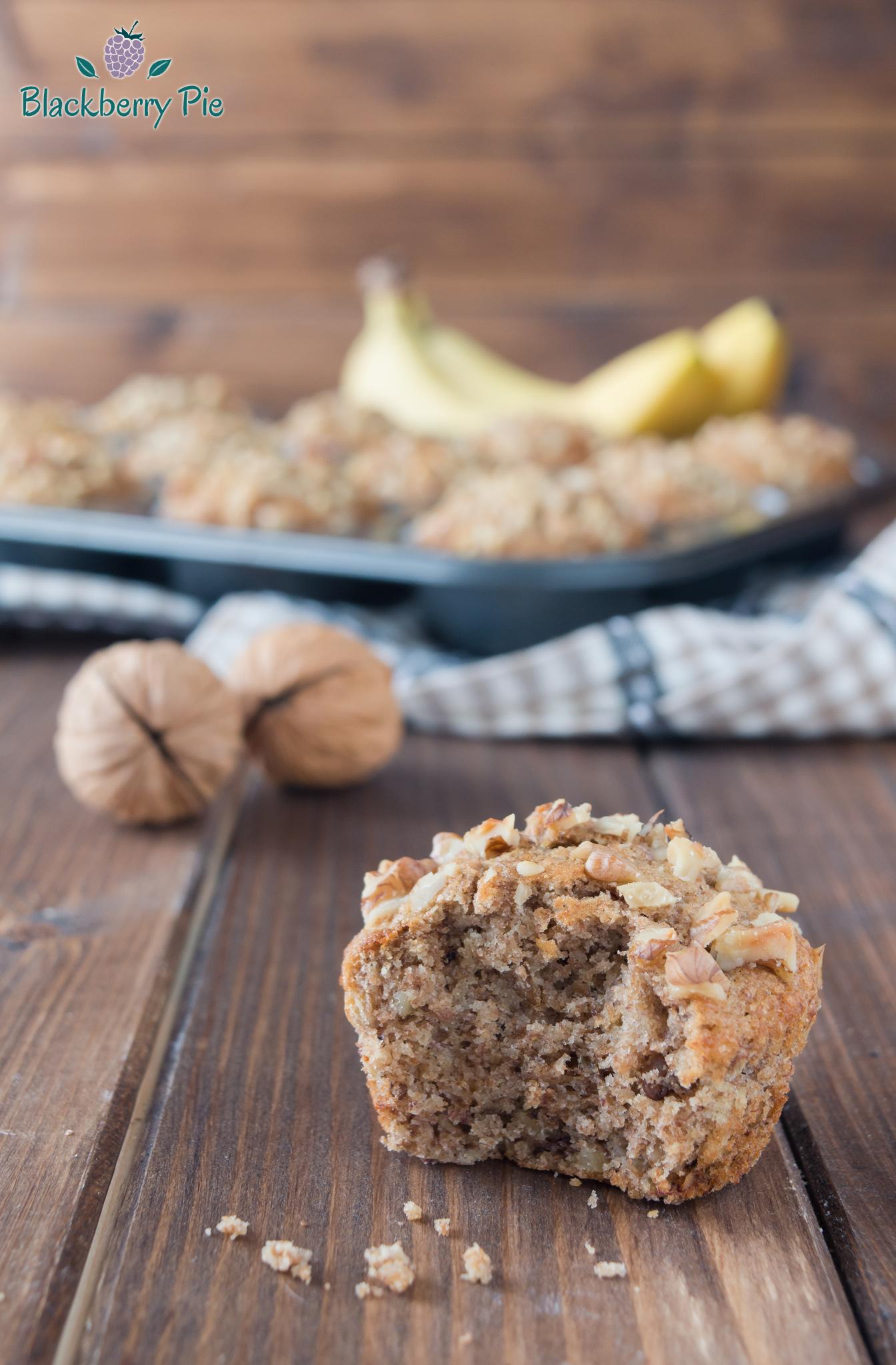 muffin integrali alle noci e banane