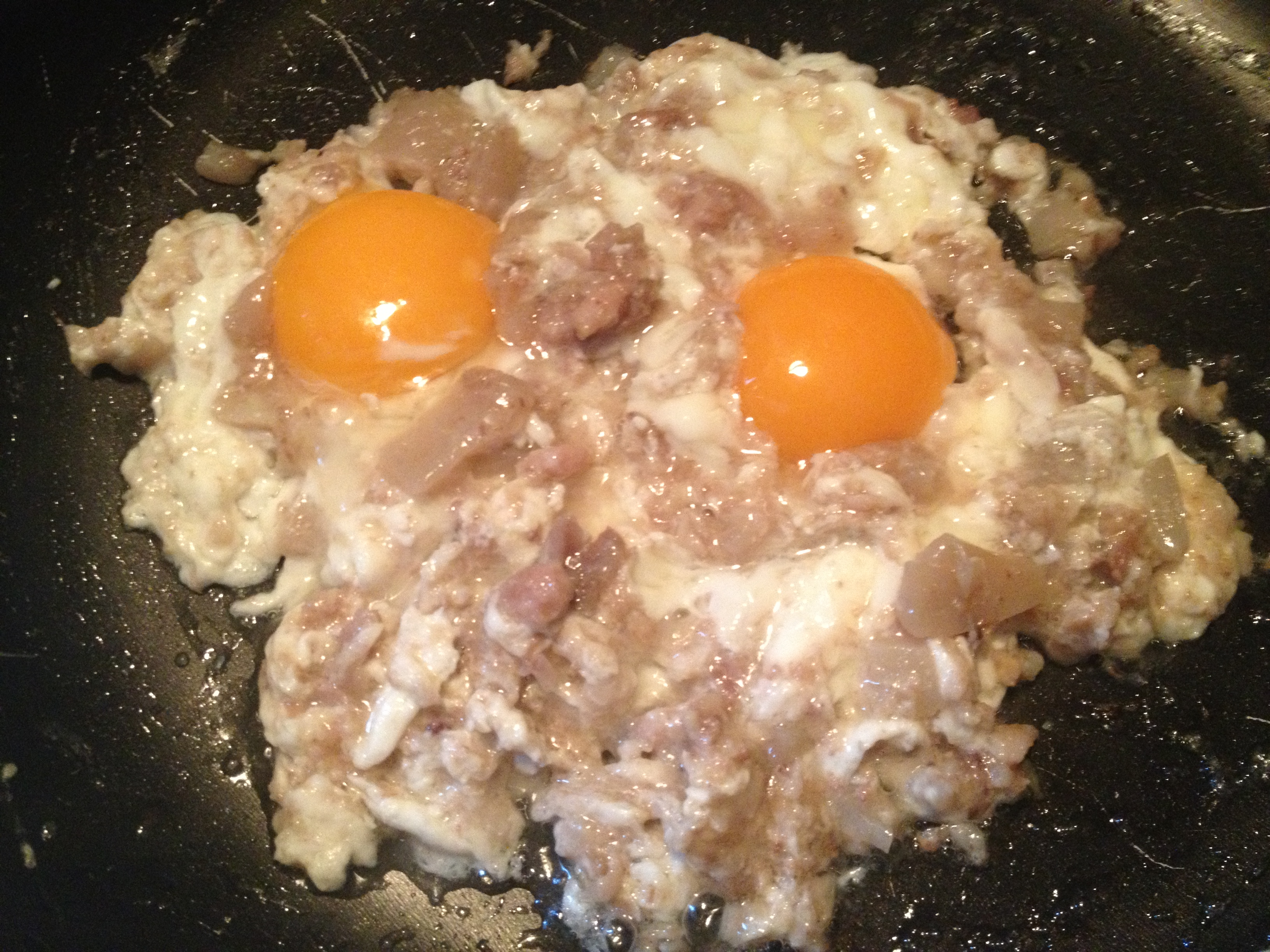 Uova fritte con cicole