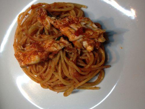Spaghetti con rana pescatrice