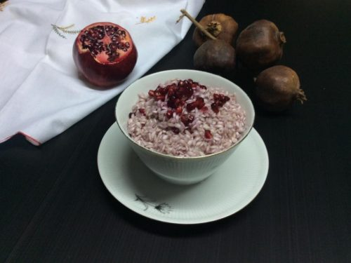 Risotto con il melograno frutto autunnale