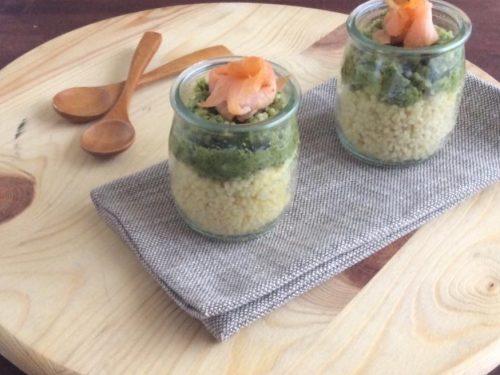 Couscous con crema di broccoli e salmone affumicato
