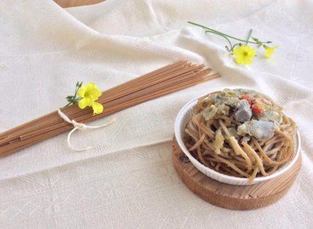 Timballo di spaghetti integrali con carciofi