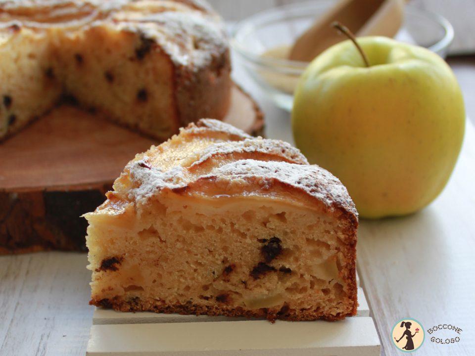 interno della torta di mele alla ricotta facile e veloce