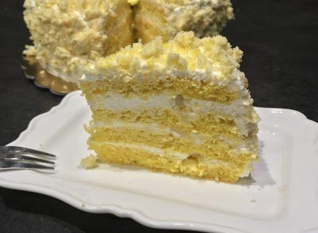 Torta mimosa con crema al formaggio (cheesecake)