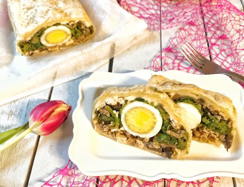 Sformato di carne in gabbia con uova sode e bietolina