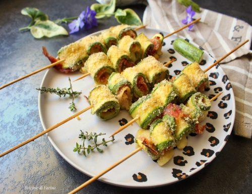 Spiedini di zucchine ripiene al forno