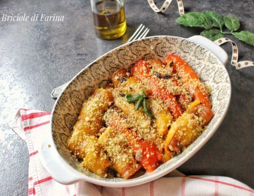 Involtini di peperoni ripieni di pangrattato alici e pomodorini