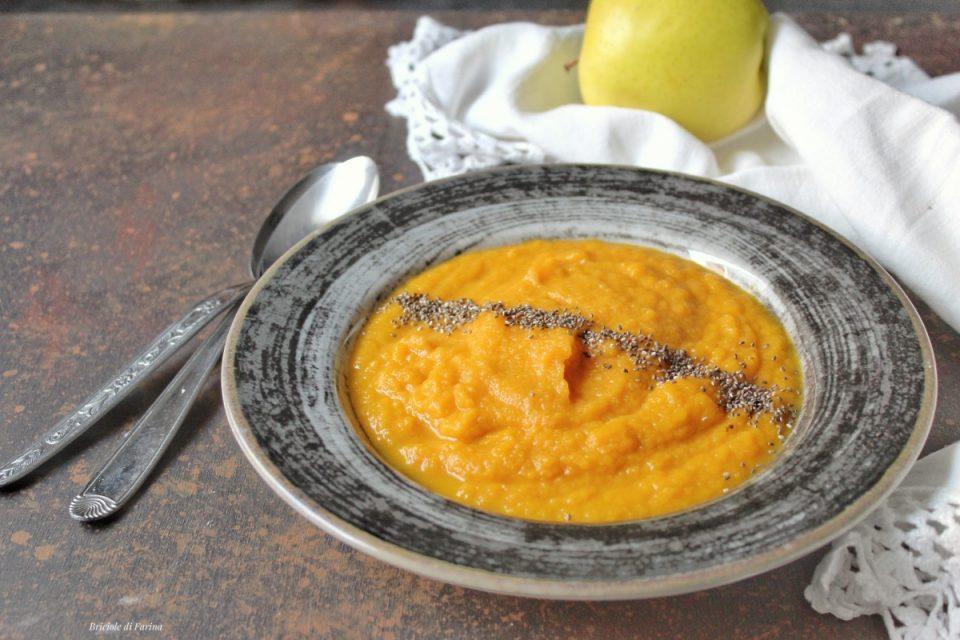 Crema di carote con mele scalogni