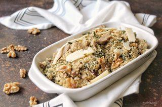 Cous cous integrale con porcini cicoria scaglie di parmigiano e noci