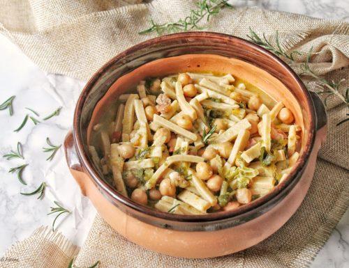 Zuppa di ceci con pancetta verze e cime di rapa