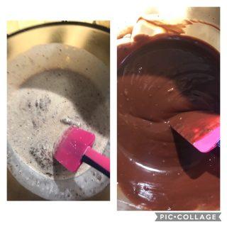 Crostata al cioccolato con ganache al cioccolato fondente e pistacchi con cottura in bianco