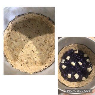 Crostata salata con pasta matta senza burro ripieno di cavolo rosso e gorgonzola