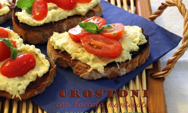 Crostoni con baccalà mantecato e pomodorini datterini