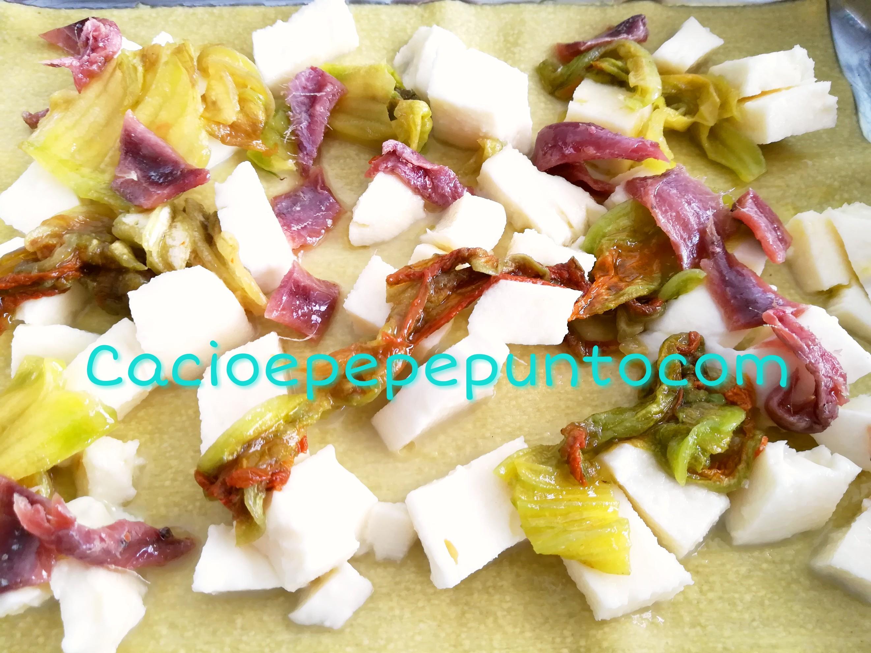 Lasagna fiori di zucca e alici