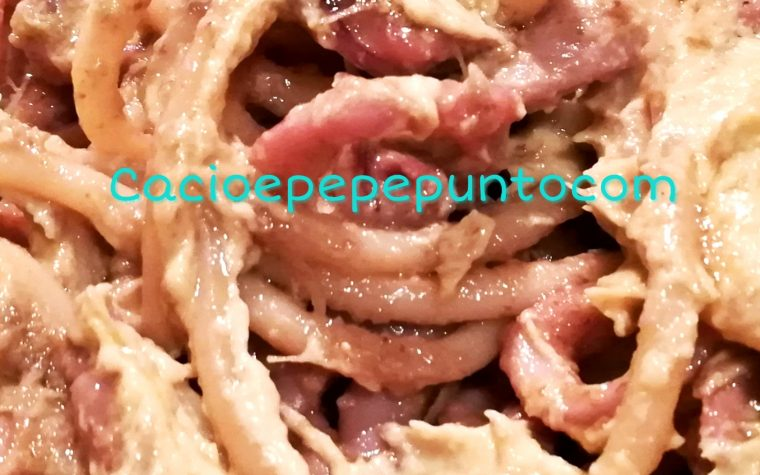 Bucatini ai calamaretti e crema di carciofi