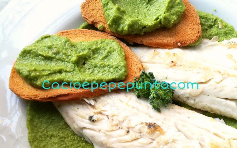 Branzino su crema di broccoli