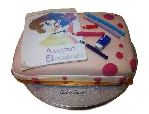 Torta compleanno in pasta di zucchero per un'artista 📝
