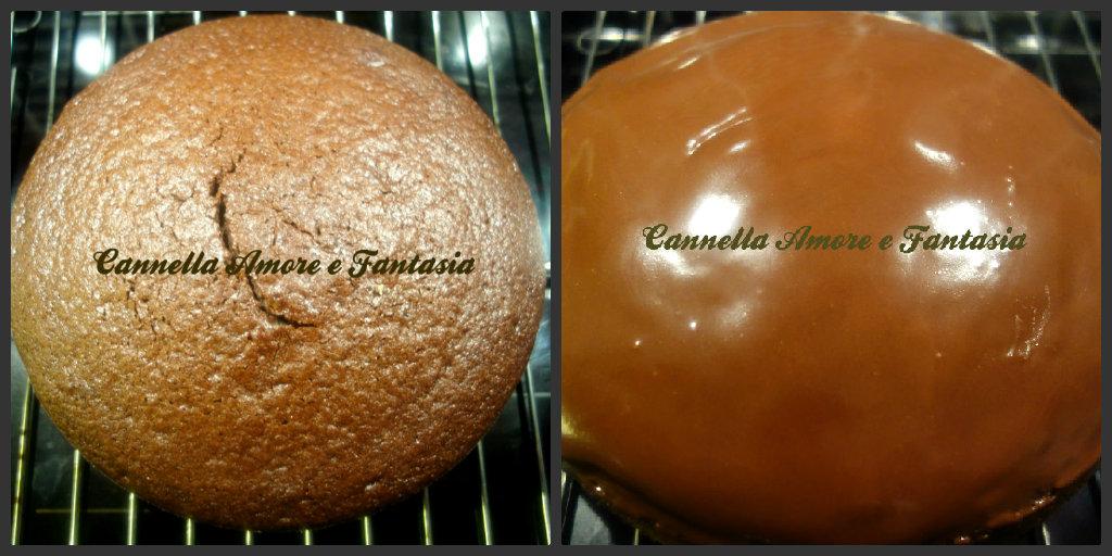 Torta soffice al cioccolato ricoperta di glassa al cioccolato