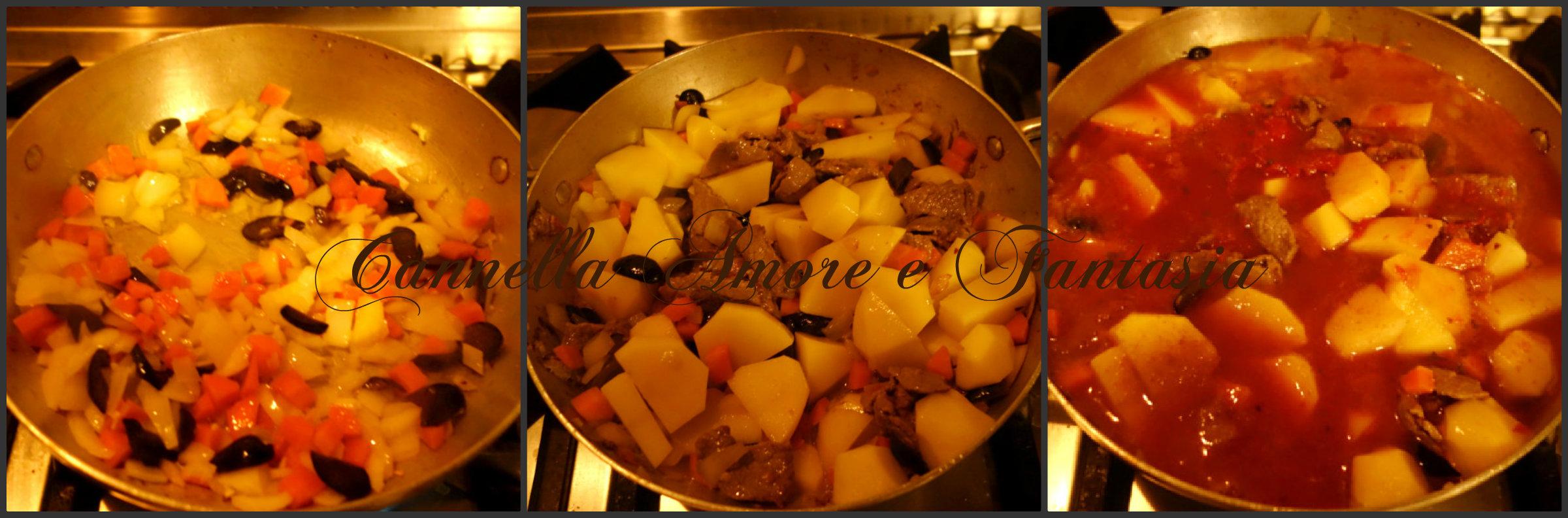 Straccetti di carne bovina alla siciliana con patate Collage